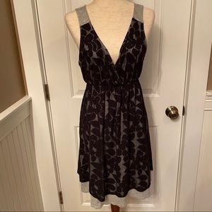 GREEN DRAGON👗DRESS GRAY BLACK LACE SLEEVELESS L